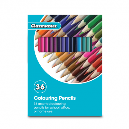 Pack of 36 Colouring Pencils in 36 assorted colours in Classmaster branded packaging