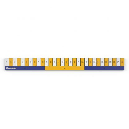 Early Learning Rulers broken up into blocks of 10cm and 1cm by brightly coloured segments