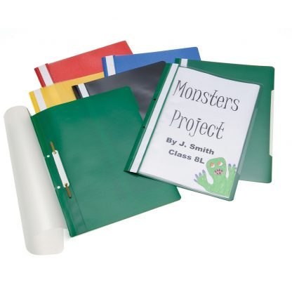 Selection of Project Files from Classmaster with assorted colour backs and clear fronts