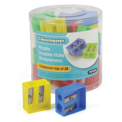 Plastic double hole pencil sharpeners in a storage tub, branded as Classmaster