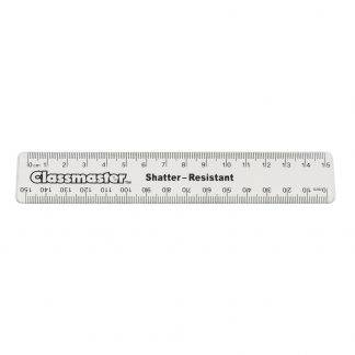 15cm clear ruler with metric measurements and classmaster branding
