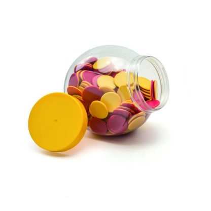 Multi-stack classroom storage jar, 650ml with yellow screw top lid shown with counters inside