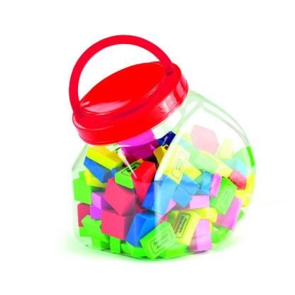 Plastic classroom jar with red lid and carry handle