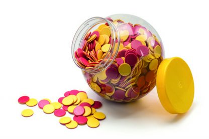 3200ml classroom storage jar with yellow screw top lid, filled with counters