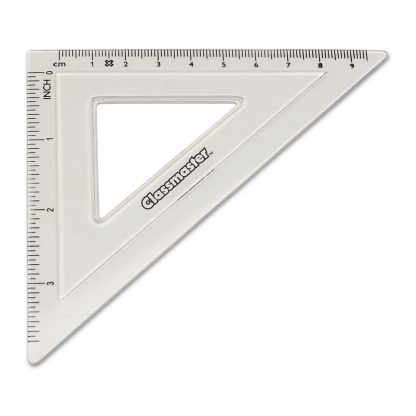 45 degree set square in clear with Classmaster branding