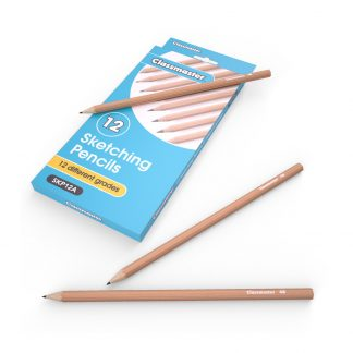 Pack of 12 assorted graphite sketching pencils in a natural finished, pictures with the Classmater branded packaging