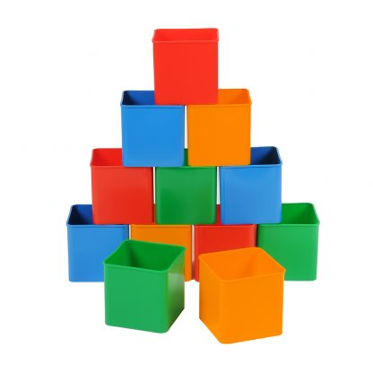 Classmaster Deskpots stacked up in colours red, blue, orange and green