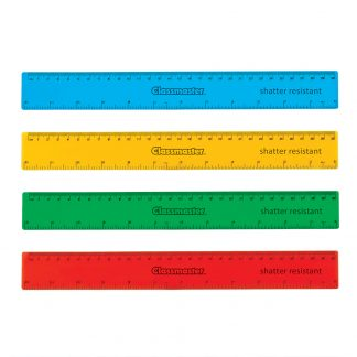 assorted colour rulers from Classmaster contains 25 each of rulers in blue, yellow, green and red