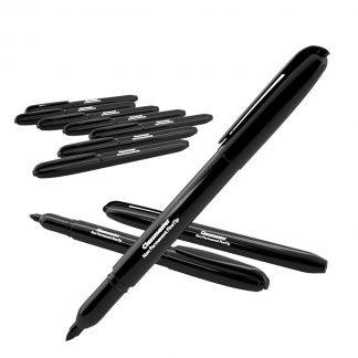 Non-permanent OHP pens in black fine tipped variety, pack of 10 with Classmaster branding