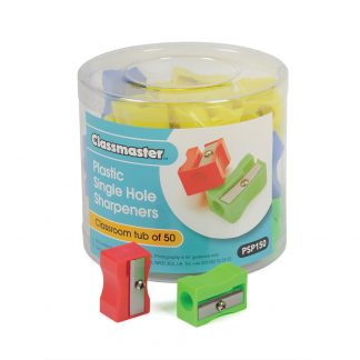 Plastic single hole pencil sharpeners in a pack of 50, supplied in a plastic tub with Classmaster branding