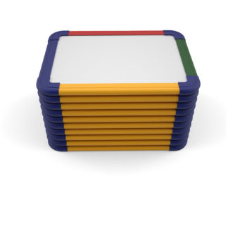 Stack of 10 Non-magnetic rainbow framed whiteboards