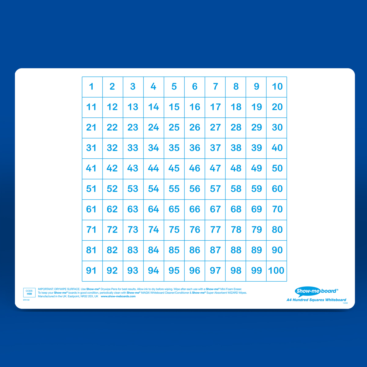 A4 Hundred Square Drywipe Boards Eastpoint