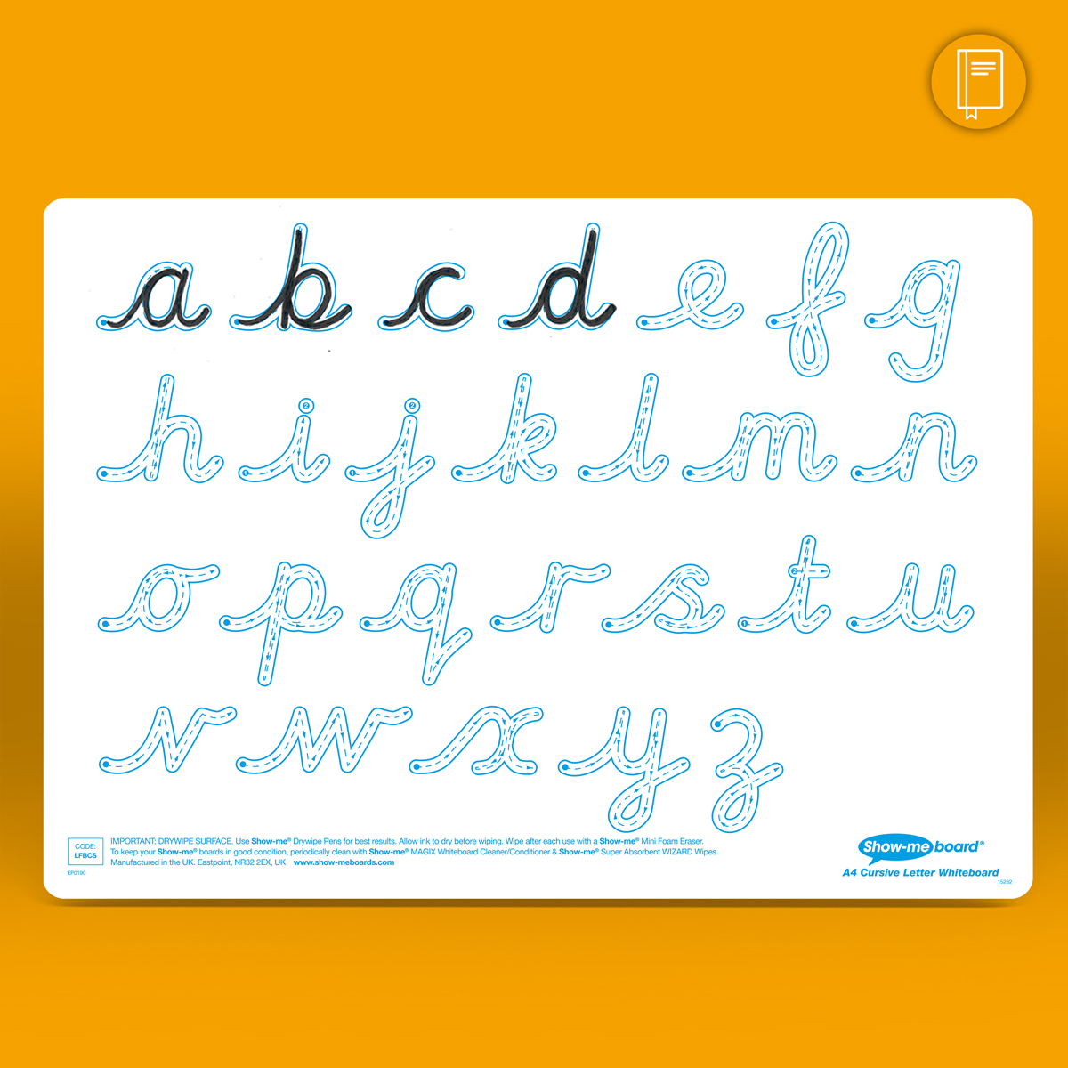 A4 Cursive Letter Formation Drywipe Boards Eastpoint