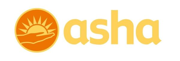 Asha India Logo - A hand holding a sun on a yellow background